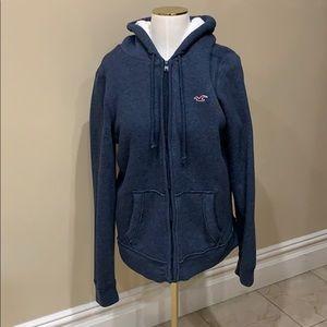 Hollister faux fur lined zip up sweatshirt